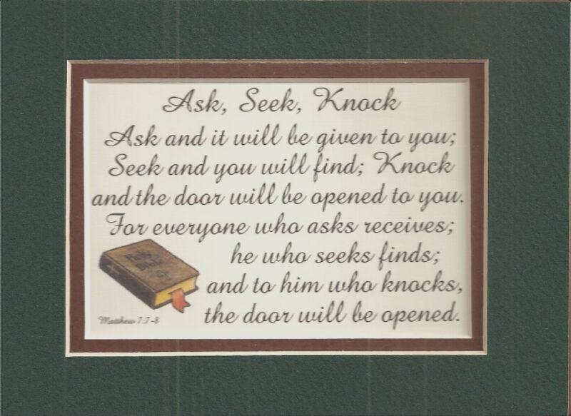 ASK SEEK KNOCK Matthew 7 7,8 DOOR Bible verses poems