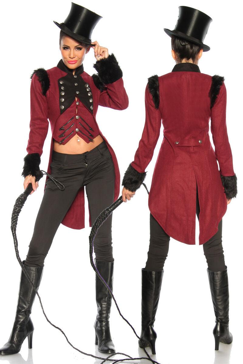 Damen Gothic Langer Jacke Steampunk Jacquard Kostüm viktorianischen Gehrock