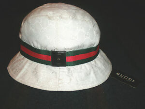 authentic gucci signature logo womens bucket hat made in italy white sz med nwt. Black Bedroom Furniture Sets. Home Design Ideas