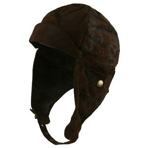 AVIATOR-Pilot-WWII-Faux-Leather-BOMBER-Helmet-Hat-Brown-Steampunk ...