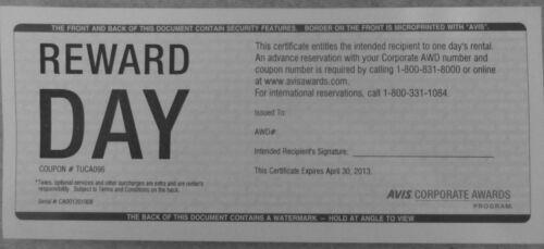avis free day car rental coupon - vouchers - certificate