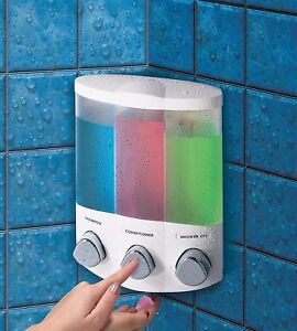 AVIVA-TRIO-SOAP-SHAMPOO-TRIPLE-DISPENSER-BATHROOM-SHOWER-WHITE-CORNER-OR-WALL