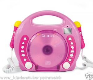 ab 3 jahre kinder karaoke cd player mp3 pink 2 mikrofone f r gemeinsames singen ebay. Black Bedroom Furniture Sets. Home Design Ideas