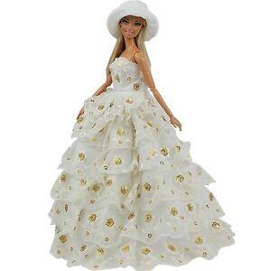 abendkleid prinzessin kleidung dress kleider mit hut barbie puppe ebay. Black Bedroom Furniture Sets. Home Design Ideas