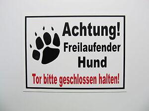 Achtung-Freilaufender-Hund-Schild-20-x15-cm-Hinweisschild-Hundeschild-Warnschild