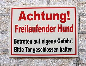 Achtung-Freilaufender-Hund-Schild-30x20cm-Hinweisschild-Hundeschild-Warnschild