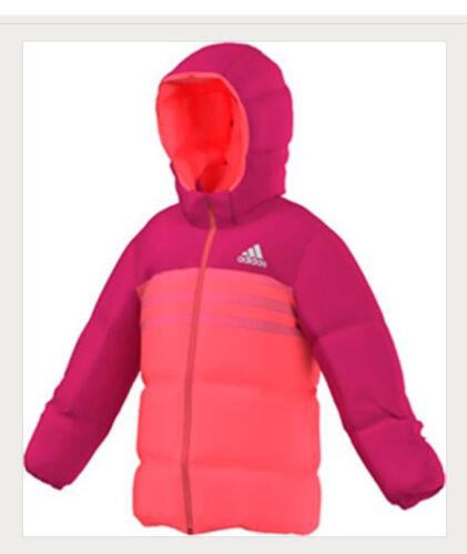 Details zu Adidas Kinder Mädchen echte Daunenjacke Winter Jacke abnehmbarer Kapuze AB4681