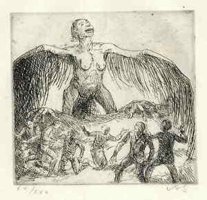 Adolf-SCHINNERER-ENGEL-ueber-UNS-1921-handsignierte-OriginalRadierung
