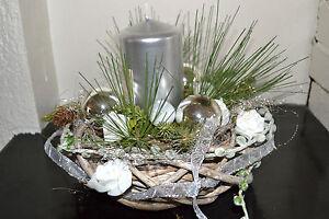 adventskranz mit kerze adventgesteck silber wei k nstlich weihnachten gesteck ebay. Black Bedroom Furniture Sets. Home Design Ideas