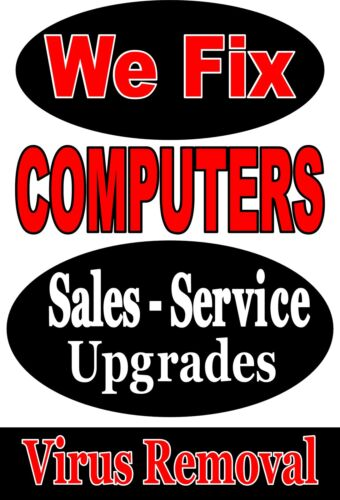 "Advertising Business Poster Sign 24""X36"" Computer Repair - Upgrades - Sales in Business & Industrial, Retail & Services, Business Signs 