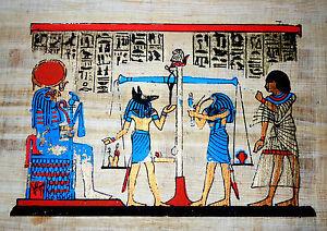 Agypten-kleines-Papyrus-Bild-20x16-cm-Das-Totengericht