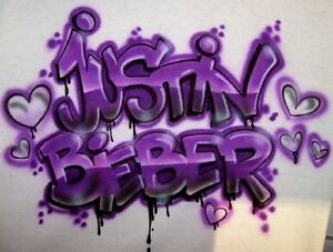 Justin in Graffiti http://www.ebay.com/itm/Airbrush-Justin-Bieber-hearts-Graffiti-Style-Airbrushed-T-Shirt-HOT-Design-/350501214155