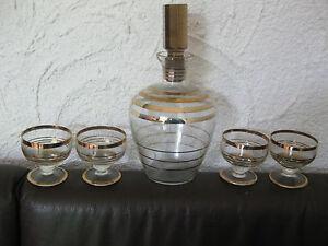 Alte-Glas-Karaffe-Likoer-Karaffe-Golddecor-4-Glaeser