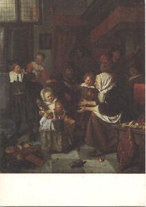 Alte-Kunstpostkarte-Jan-Steen-Das-St-Nikolausfest
