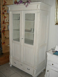 alter schrank vitrine b cherschrank gr nderzeit shabby chic wei ebay. Black Bedroom Furniture Sets. Home Design Ideas