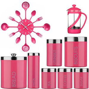 Amazing New Kenya Cafeteria Tea Coffee Sugar Jars Bread Bin Clock Pink Set Ebay
