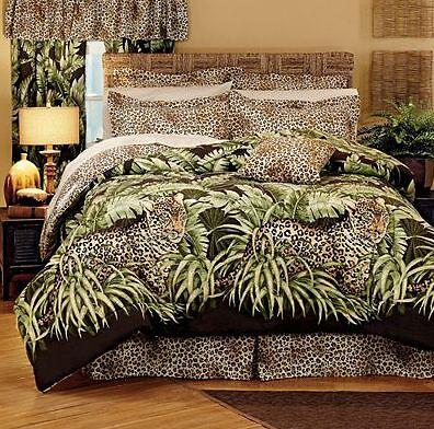 Wild Leopard Cat Jungle Animal Print Comforter Set Twin Valance