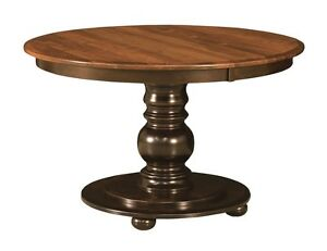 amish round pedestal dining table black traditional kitchen solid wood