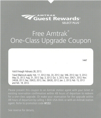 Amtrak One Class Upgrade Coupon Voucher in Travel, Rail | eBay