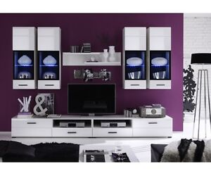 anbauwand wohnwand wohnzimmerschrank wei attac ca 280 cm. Black Bedroom Furniture Sets. Home Design Ideas