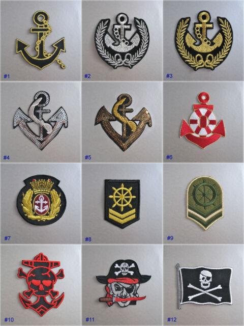 badge pacth tissu brod thermocollant motif ancre marin marine nautique ebay. Black Bedroom Furniture Sets. Home Design Ideas