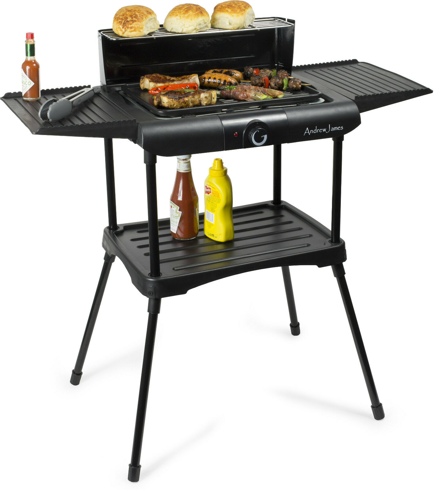 Outdoor Electric Barbecue Grills ~ Andrew james deluxe black electric bbq grill griddle