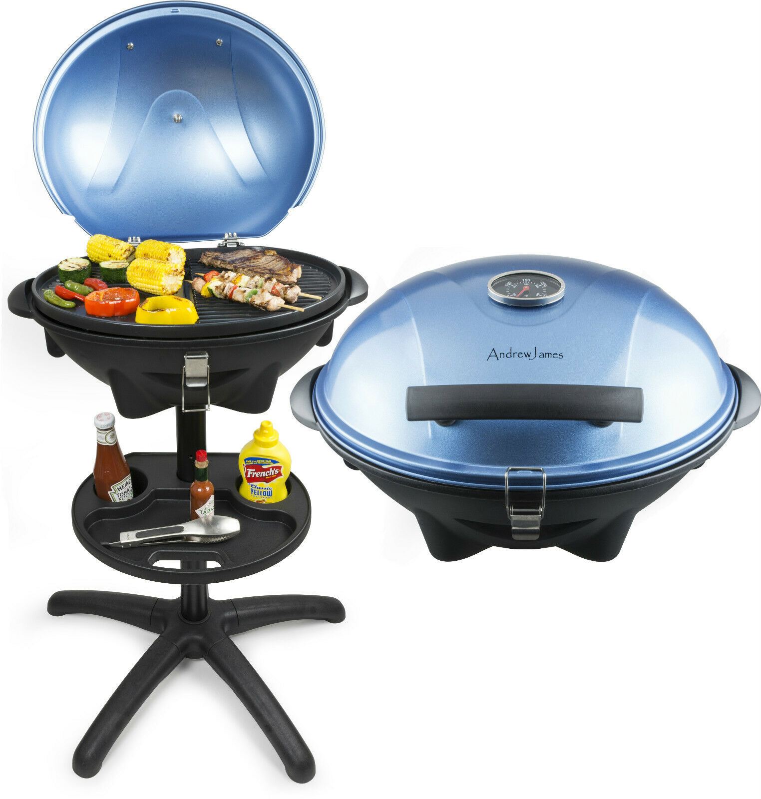 Small Electric Grills Outdoor ~ Andrew james portable blue electric bbq grill griddle