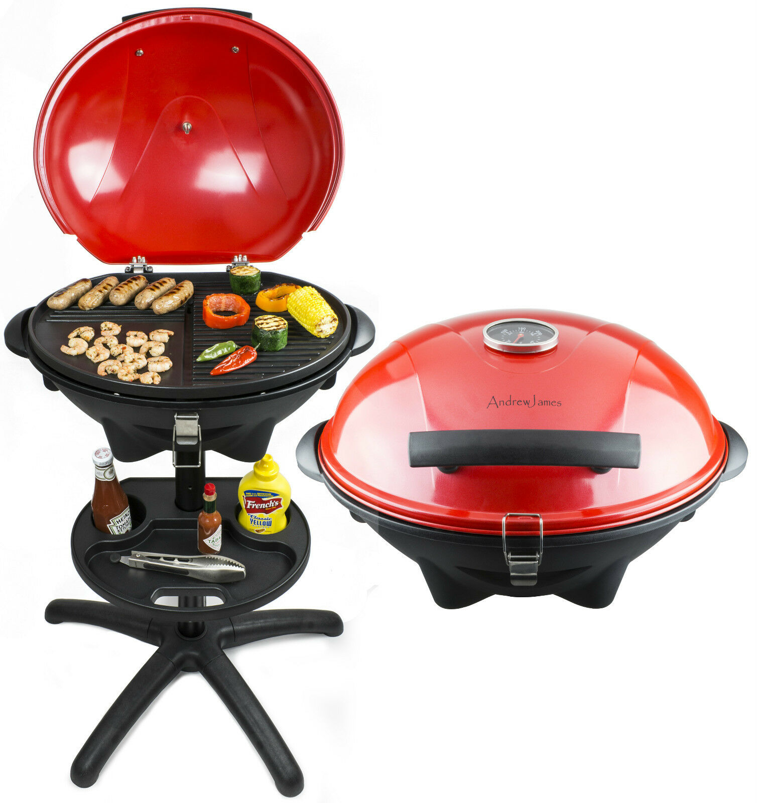 Small Electric Griller ~ Andrew james portable red electric bbq grill griddle