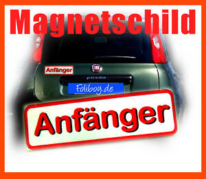 anf nger magnet schild fahranf nger auto pkw f hrerschein sticker aufkleber neu ebay. Black Bedroom Furniture Sets. Home Design Ideas