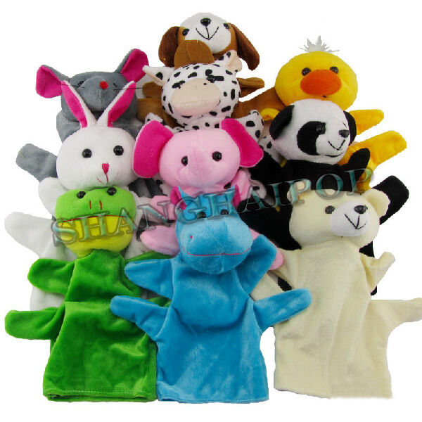 Animal Hand Puppets Soft Children Kids Baby Plush Toy Panda Bear Cow Bunny Party