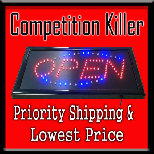 "Animated LED Light Open Sign 19""X10""x1""-Super Fast Priority Shipping- in Business & Industrial, Restaurant & Catering, Furniture, Signs & Decor 