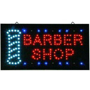 Animiertes-LED-Neonleuchtzeichen-Leuchtschild-BARBER-SHOP-Friseursalon-Offen