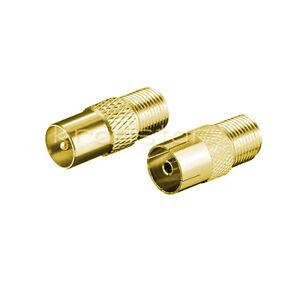 antennen stecker adapter koax stecker auf f buchse kupplung auf f buchse gold ebay. Black Bedroom Furniture Sets. Home Design Ideas