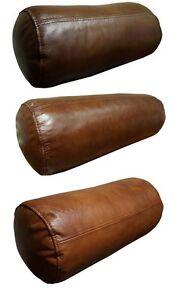 antik leder nackenrolle kissen echt leder sofa dekokissen nackenkissen kissen ebay. Black Bedroom Furniture Sets. Home Design Ideas