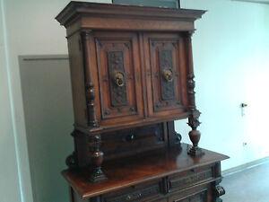 antik schrank buffet 1860 gr nderzeit nussbaum furniert 2 teilig l wenk pfe ebay. Black Bedroom Furniture Sets. Home Design Ideas
