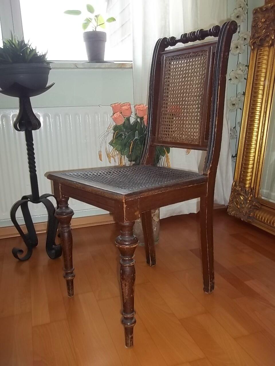 antiker stuhl jugendstil gr nderzeit sitz geflecht um 1890 alter stuhl unikat. Black Bedroom Furniture Sets. Home Design Ideas