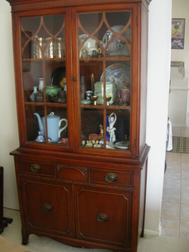 Antique American Chippendale China Cabinet Cup Board Hutch Early 1900's in Antiques, Furniture, Cabinets & Cupboards | eBay