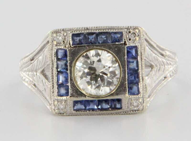 Antique Art Deco 14k White Gold Diamond Blue Sapphire Cocktail Ring