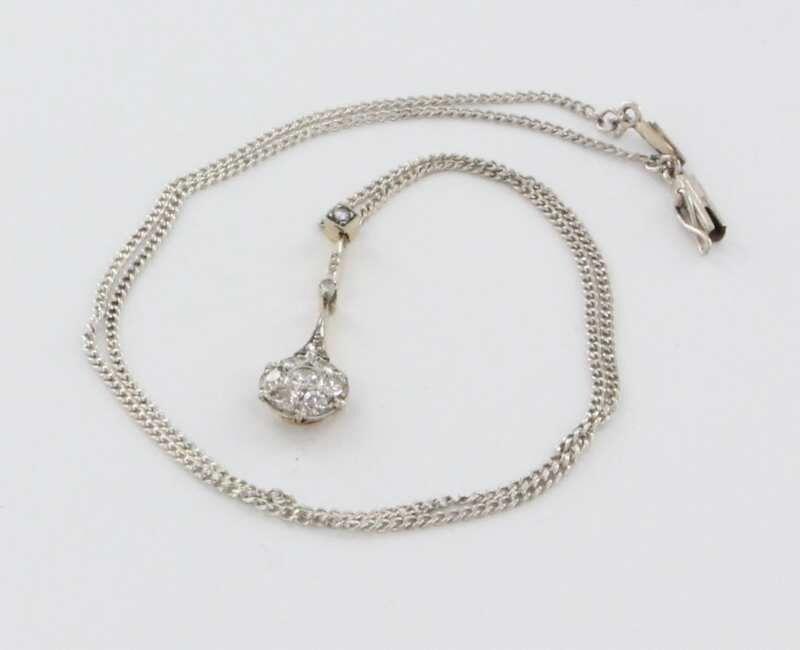 Antique Art Deco 14k White Gold Diamond Pendant Necklace Fine Vintage