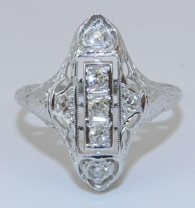 Antique Art Deco 18K White Gold Diamond Filigree Ring Circa 1920s Size