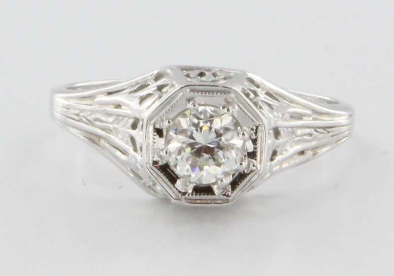 Antique Art Deco 18k White Gold Diamond Filigree Engagement Vintage