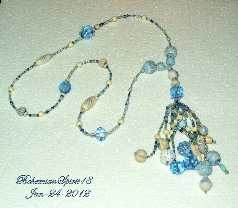 Antique Art Deco BLUE CZECH ART GLASS BEADED Strand TASSEL FLAPPER