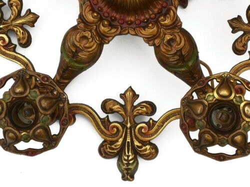 Antique Art Deco Ceiling 5 Light Chandelier Polychrome Paint Fleur-De-Lis in Antiques, Architectural & Garden, Chandeliers, Fixtures, Sconces | eBay