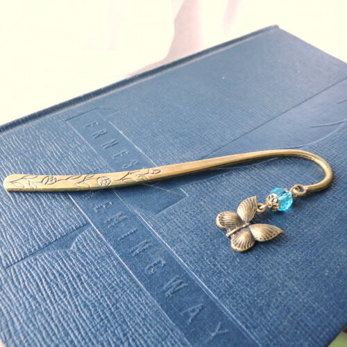 Antique Brass Butterfly Bookmark with Aqua Blue Crystal in Books, Accessories, Bookmarks | eBay