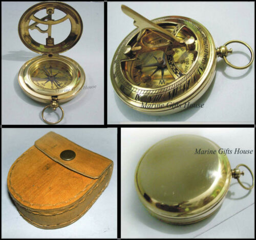 { Antique Brass Sundial Compass W/ Case} { Maritime Pirate Pocket Gift Compass } in Antiques, Maritime, Compasses | eBay