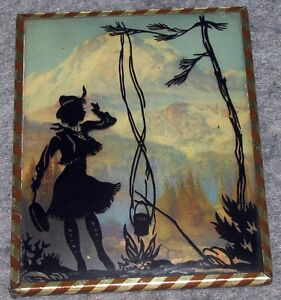 Antique-Cowgirl-Reverse-Painted-Glass-Silhouette-Picture-Convex-Glass