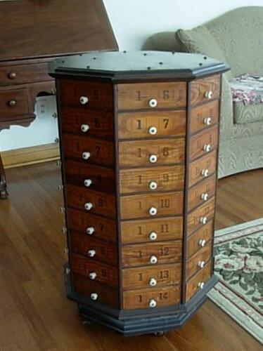 Antique Hardware General Store Wood Octagon REVOLVING 72 DRAWER NUT BOLT CABINET in Antiques, Furniture, Cabinets & Cupboards | eBay