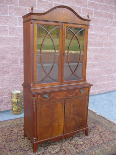 Antique Inlaid Mahogany China Cabinet Johnson Handley Johnson Grand Rapids nr in Antiques, Furniture, Cabinets & Cupboards | eBay