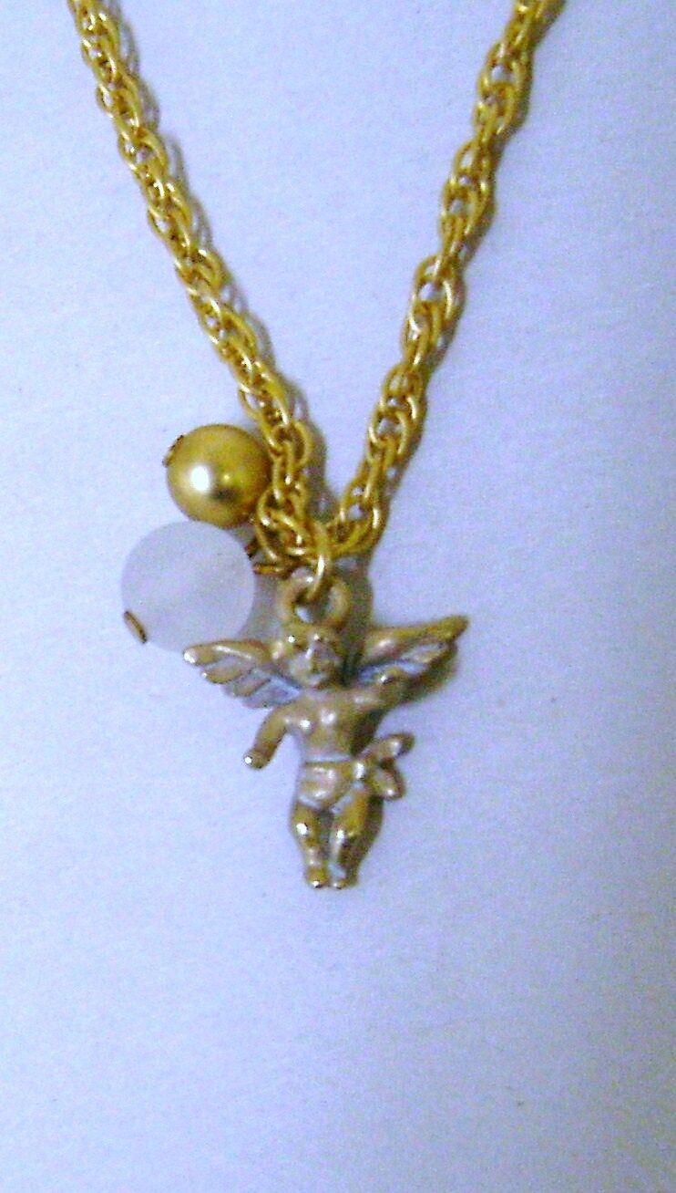 Antique Look Cherub Guardian Angel Gold Tone Charm Pendant Necklace