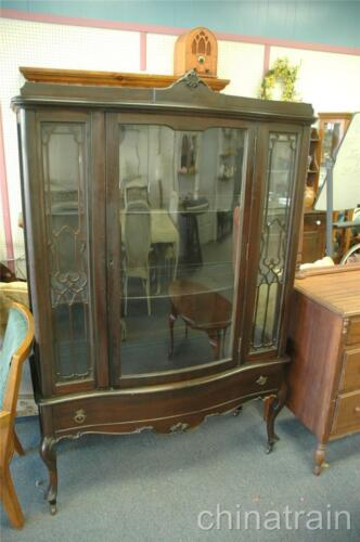 "Antique Mahogany Bow Front Curved Glass China Cabinet Hutch 46"" x 16"" x 70"" in Antiques, Furniture, Cabinets & Cupboards 